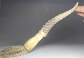 Chinese Handwork Carving Old Ox Horn Writing Brush photo