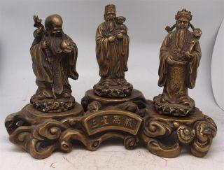 Set Of Three Bronze Oriental Chinese Gods On A Base - Fu Lu Shou - 17cm High photo