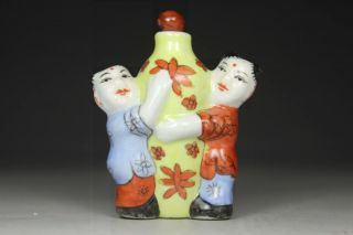 Chinese Old Porcelain Wonderful Handwork Painting Two Children Snuff Bottle photo