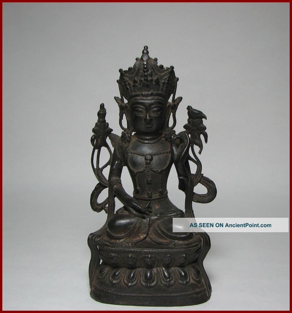 Good 16/17c Late Ming Dynasty Chinese Bronze Figure Of Guanyin,  8.  5