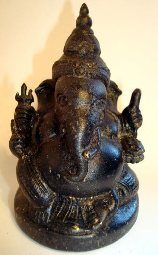 Attractive And Rare Bronze Seated Khmer Ganesh Statue,  Buddha,  Antique. photo