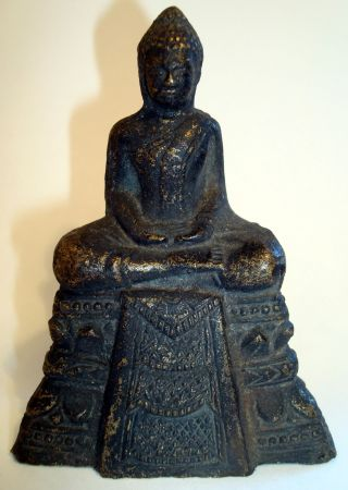 Attractive Thai,  Ayutthaya,  Bronze Seated Buddha Statue.  Antique.  9.  99p No Res photo
