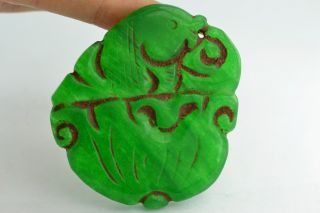 China Rare Collectibles Old Decorated Handwork Jade Carving Fish Pendant photo