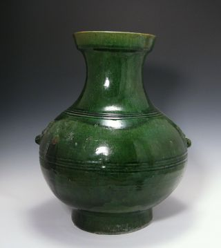 Large And Impressive Antique Chinese Tang Dynasty Storage Jar Vase W Green Glaze photo