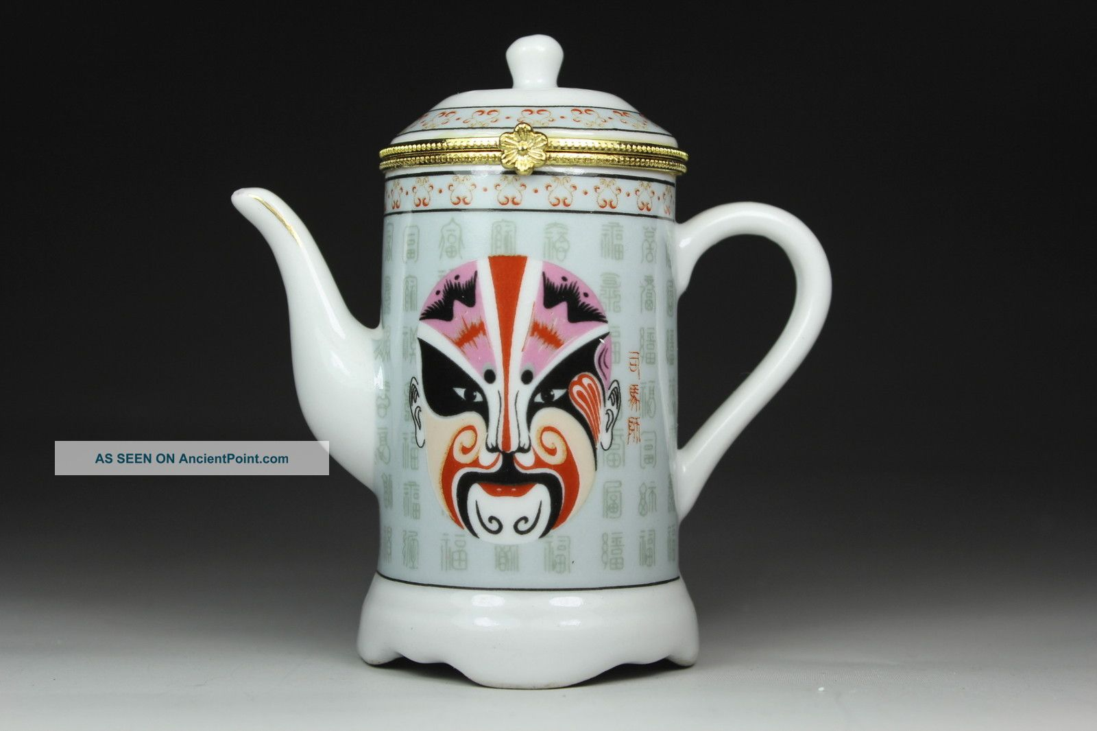 Chinese Porcelain Handwork Beijing Opera Facial Masks Tea Pot Toothpick Box Boxes photo