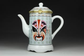 Chinese Porcelain Handwork Beijing Opera Facial Masks Tea Pot Toothpick Box photo