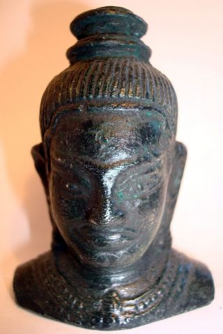 Classic And Lovely Khmer Cambodia,  Bronze Buddha Head Statue,  Antiquity photo