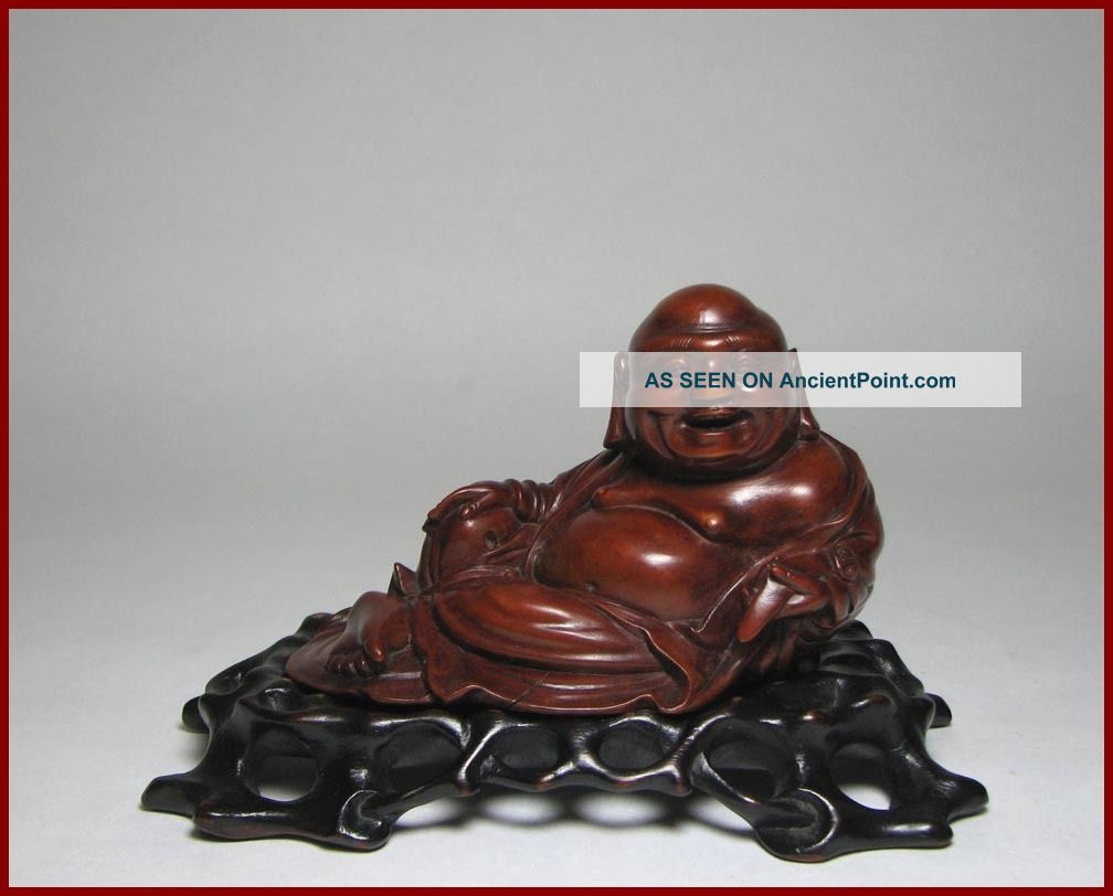 Finest 19c Chinese Carved Boxwood Figure Of Budai On Stand,  Perfect, Buddha photo