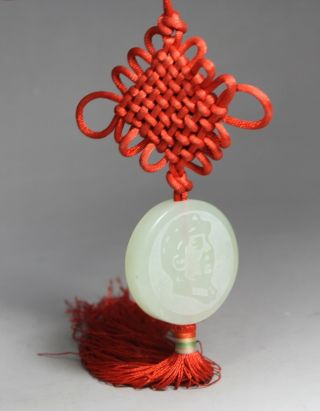 Chinese Arts Jade/ String Handwork Chinese Knot Chairman Mao Pendant Decoration photo