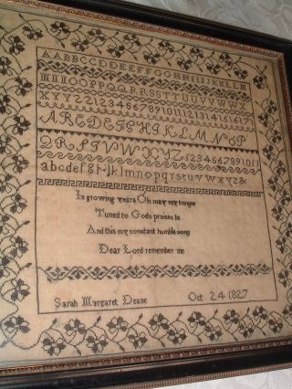 Georgian Antique Sampler Sarah Deane 1827 Poignant Verse In Memoriam ? photo