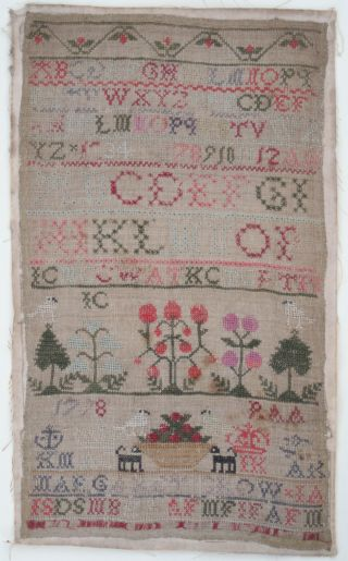 18th Century Scottish Sampler By Margaret Crow 1798.  Antique Needlework photo