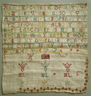 1726 Silk On Linen Very Sweet Little English Sampler Mary Lancaster,  December 7 photo
