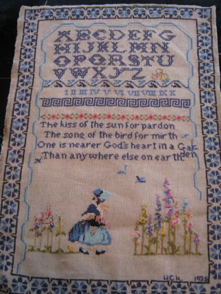 Antique Cross Stitch Sampler Alphabet Kiss Of The Sun photo