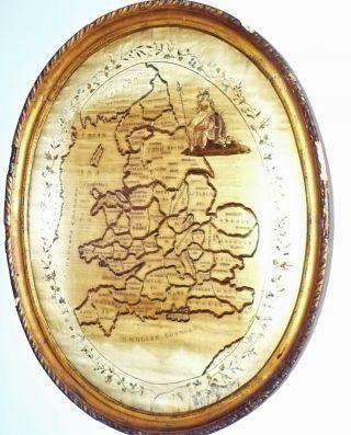 Reduced Antique Large Embroidered Needlework Sampler Map England Frame photo