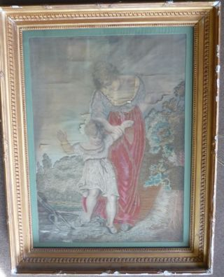 Huge Framed Late 18th / Early 19th Century Silkwork Picture photo