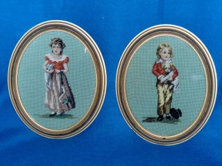 Pair Of Vintage Needlepoint Tapestry Pictures - Victorian Boy And Girl photo