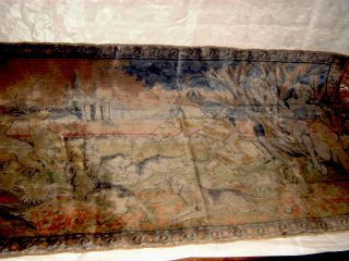Antique Tapestry Runner Hounds Hunting Stag May Be Silk 42 X 23