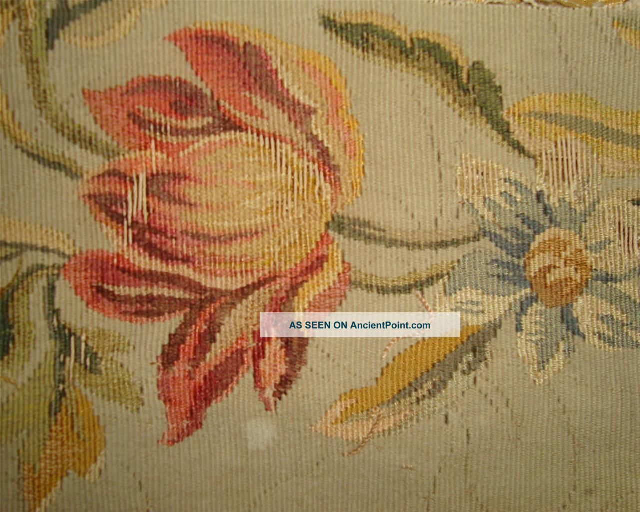 Small Fragment Lovely 19thc French Aubusson Tapestry B Tapestries photo