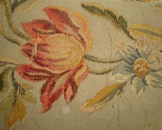 Small Fragment Lovely 19thc French Aubusson Tapestry B photo