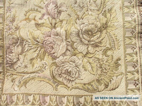 Vintage French Petite Shabby Roses Tapestry. . .  C.  1920 Tapestries photo
