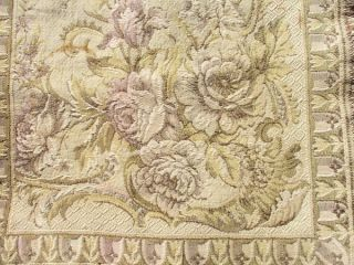 Vintage French Petite Shabby Roses Tapestry. . .  C.  1920 photo
