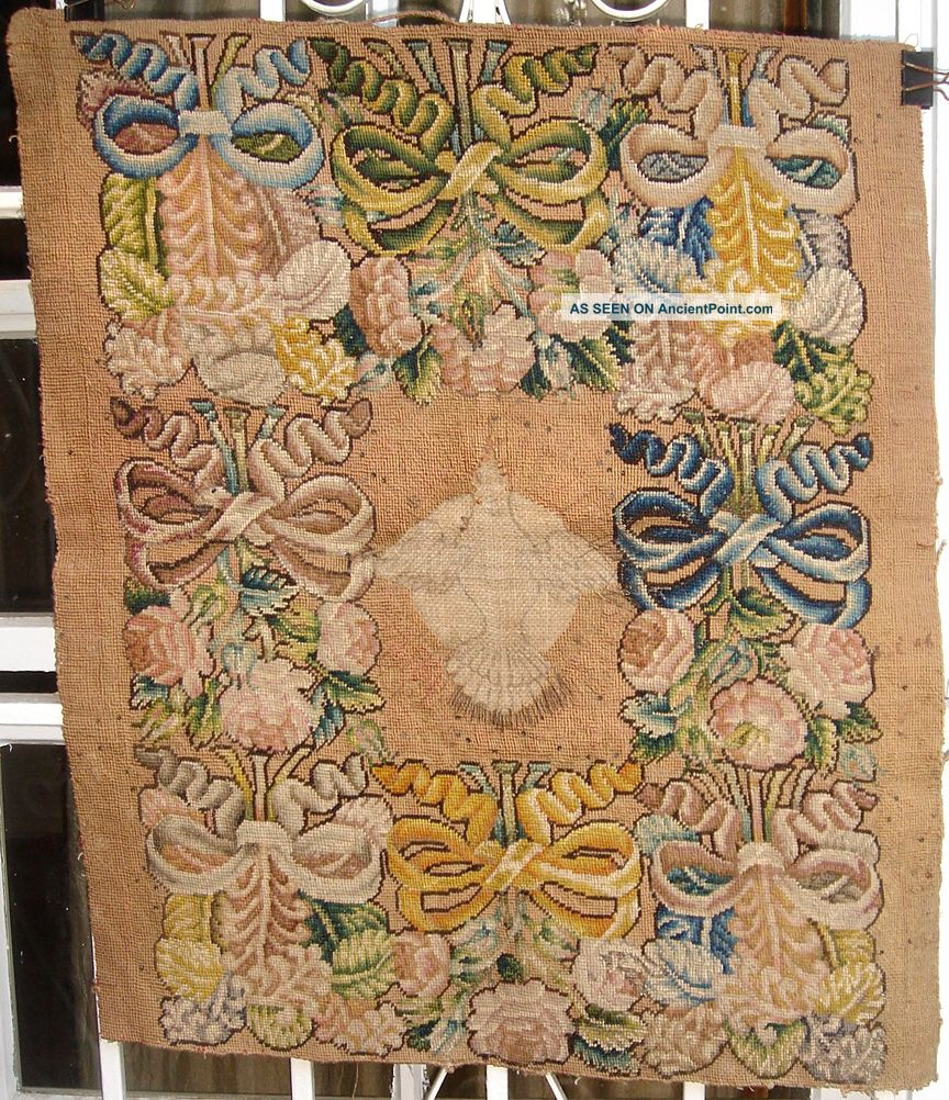A Antique Needlepoint Tapestry With Bird Tapestries photo