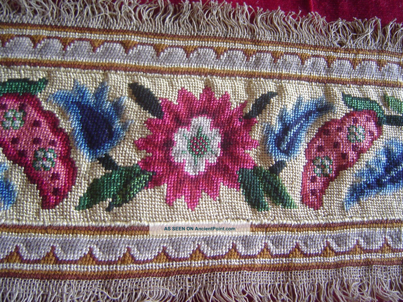 Antique Silk And Wool Needlework 1 Yard Embroidery photo