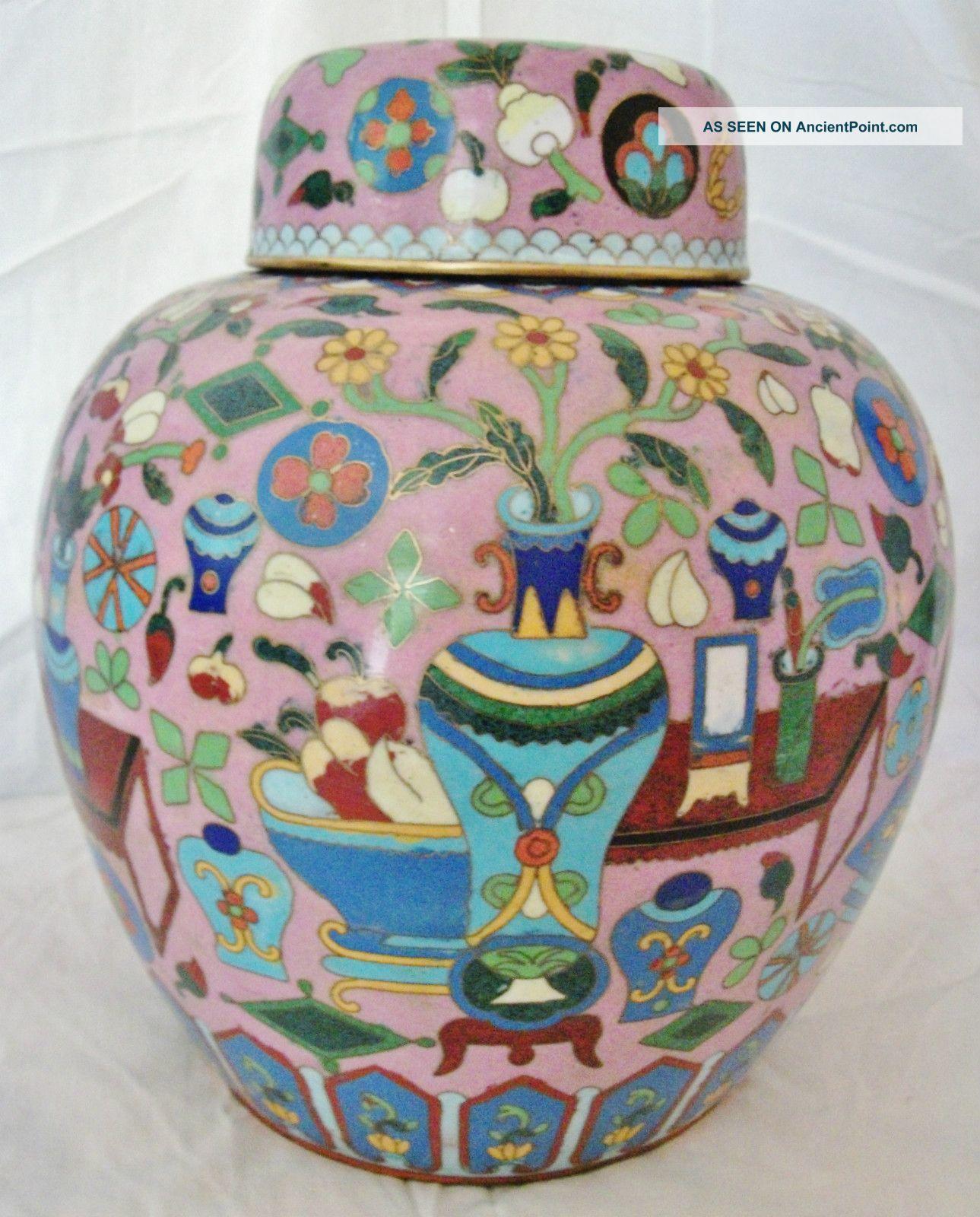 Big Pink & - Cloisonne Scholar Design Rare Antique Very High Quality Jar Vases photo