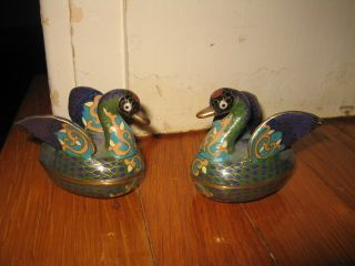Pair (2ea) Of Small Vintage Chinese Cloisonne Swans Or Ducks photo