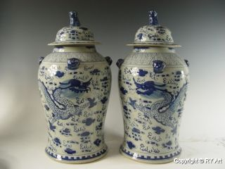 Pair Chinese Blue White Porcelain Temple Jars 20