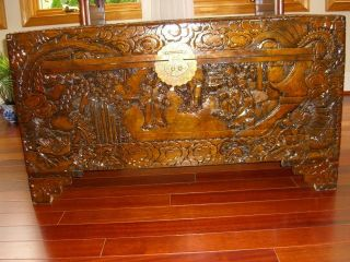 Hand Carved Chinese Camphor Wood Trunk,  Large And,  Antique photo