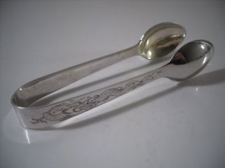 A Pair Of Chinese Silver Tongs With Engraved Dragon Decoration : China C1920 photo