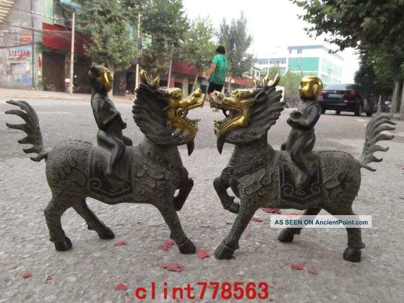 Chinese Folk Bronze Lucky Boy Ride Kirin Pair Reproductions photo