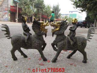 Chinese Folk Bronze Lucky Boy Ride Kirin Pair photo