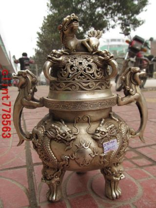 China Tai Beipalace Guardian 2 Long Lion Incense Burner St photo