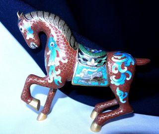 Chinese Cloisonne Enamel Horse Prancing 12 X 13 Cm 73 Cloisonne Statue Horse photo