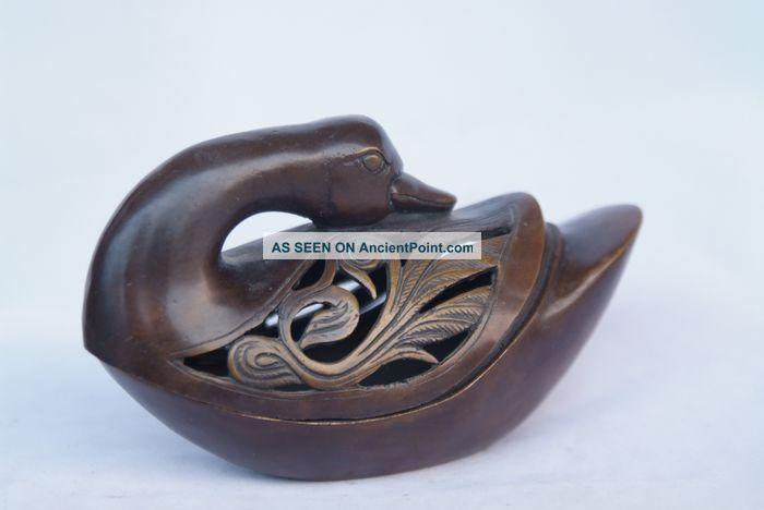 Chinese Ancient Copper Ducks Fuming Furnace Statue Buddha photo