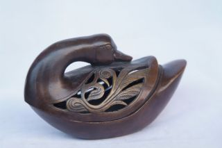 Chinese Ancient Copper Ducks Fuming Furnace Statue photo
