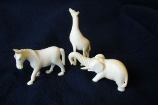 Antique Rare Faux Ivory Animal Collection From 1880s photo