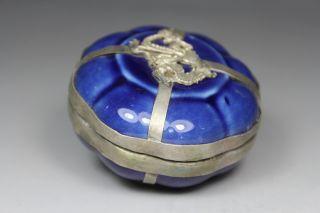 Chinese Handwork Porcelain Dragon Old Jewel Case photo