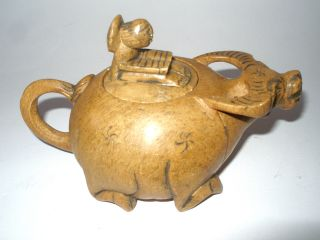 Jade Chinese Teapot Boy Man Riding Water Buffalo Tested Jade photo