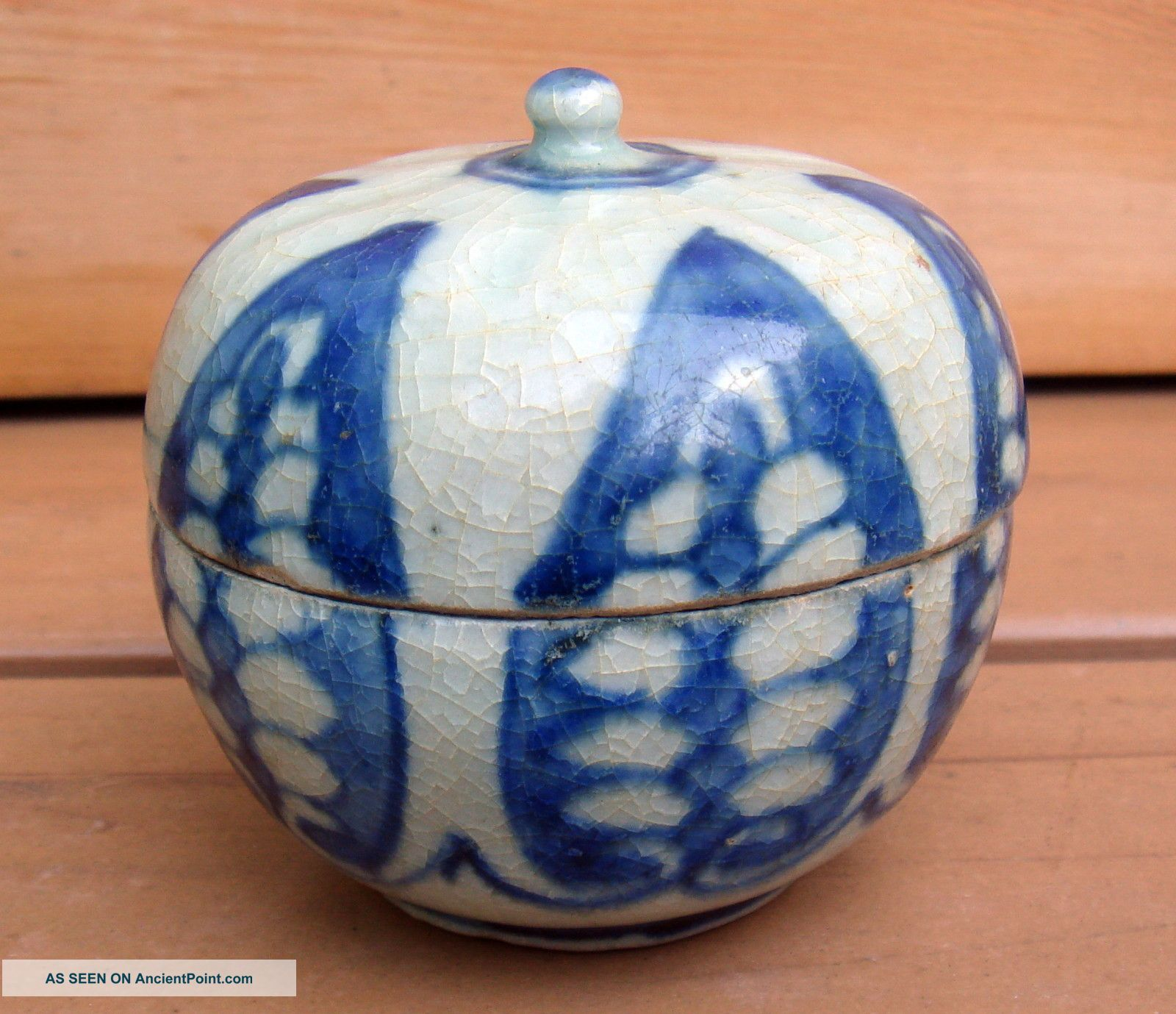 Antique Chinese Asian Blue White Covered Gourd Box 16/17c Boxes photo