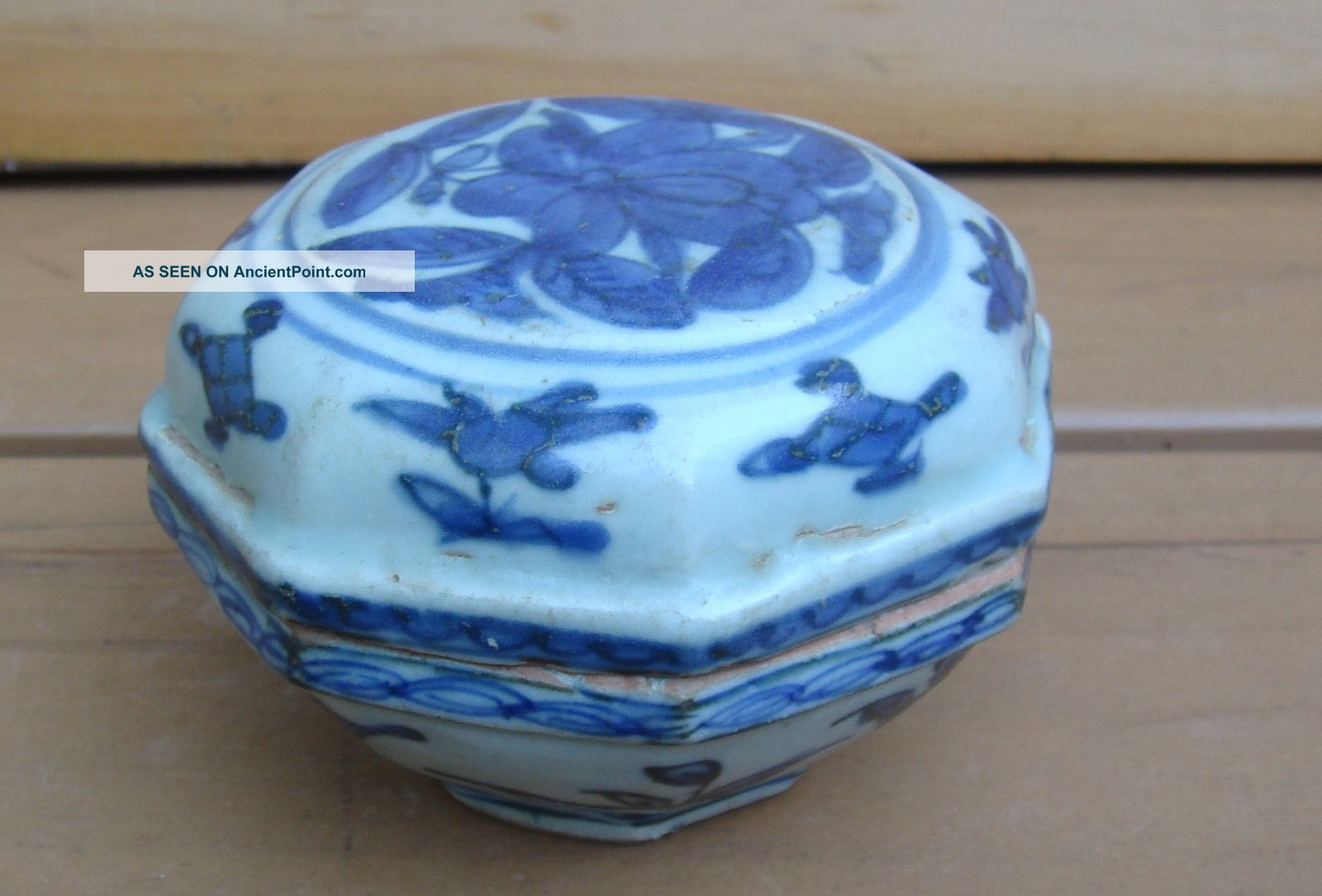 Antique Chinese Asian Blue White Covered Box 17/18c Boxes photo