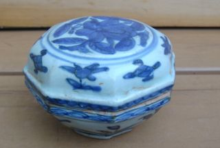Antique Chinese Asian Blue White Covered Box 17/18c photo