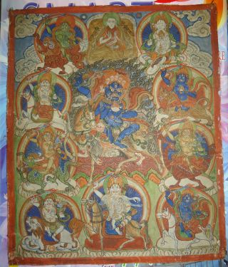 Mongolian Antique Buddhist Old Thangka Paint 18 - 19 C (rare) photo