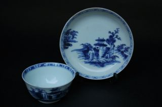 Antique Chinese 18c Blue And White Nanking Cargo Tea Bowl And Saucer photo