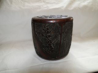 Old Chinese Carved Covered Bamboo Box photo