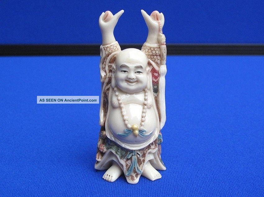 Fine Antique Chinese Carved Ox Bone Polychrome Buddha Okimono Statue Signed Buddha photo