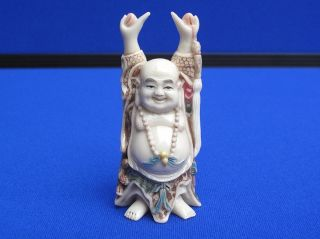 Fine Antique Chinese Carved Ox Bone Polychrome Buddha Okimono Statue Signed photo