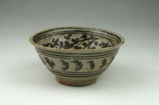 Fine Antique 15/16thc Thai Sawankhalok Black Underglaze Solar Swirl Bowl photo
